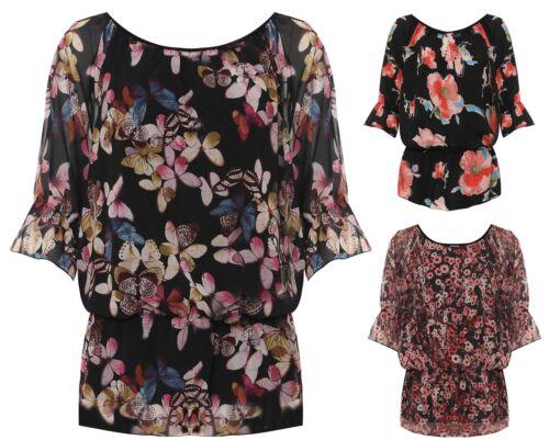 Womens Floral Print Off Shoulder Chiffon Shirt Ladies Short Sleeve Gypsy Top
