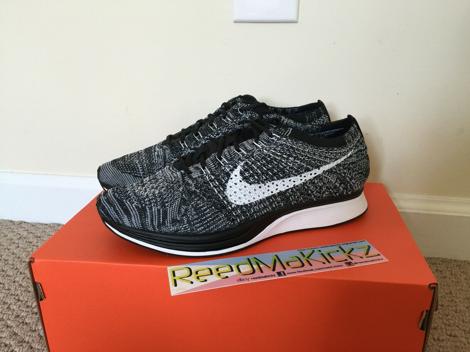 Nike Flyknit Racer Oreo 2.0 Black/ white Mens sizes style