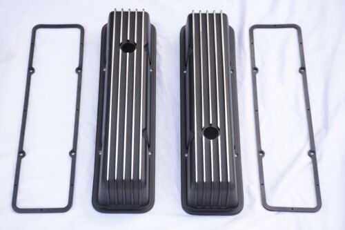 Black Aluminum Chevy Retro Finned TALL Valve Covers Gaskets 283 305 350 SBC
