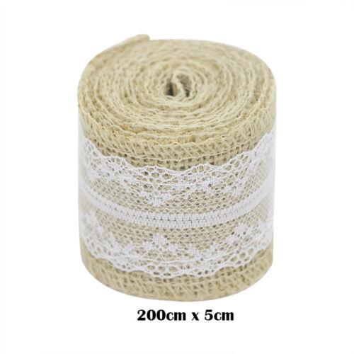 2M Natural Hessian Ribbon+Laces Trim Edge Rustic Jute Burlap Wedding Venue Decor