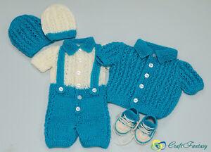 f157f5c2705f Hand Knitted Baby Boy s Newborn Set Romper Cardigan 2 Hats and ...