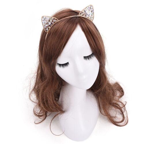 Girls Metal Rhinestone Cat Ear Headband Hair band Costume Party Cosplay GQ