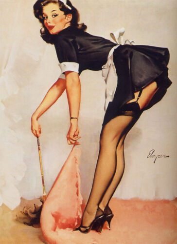 French Maid Retro Pin Up Girl  Home Decor Canvas Print A4 Size 210 x 297mm