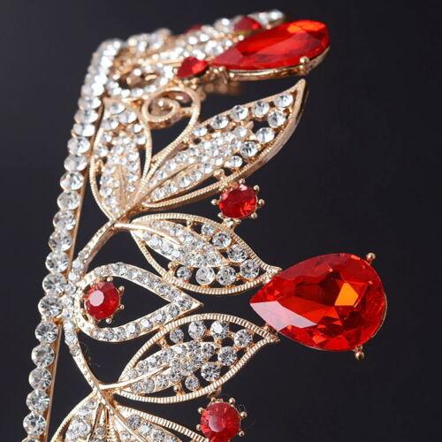 7cm High Adult Red Big Drip Crystal Flower Leaf Tiara Crown Wedding Pageant Prom