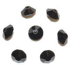 SCJA144f Jet Black 6x4mm Faceted Rondelle Bicone Swarovski Crystal Beads 12/pkg