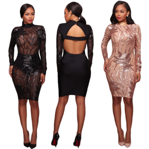 2017 Sexy Women Long Sleeve See Through Bodycon Club Jumpsuits