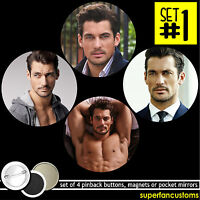 David Gandy Set Of 4 Buttons Or Magnets Or Mirrors Pinback Badges Pins 1160