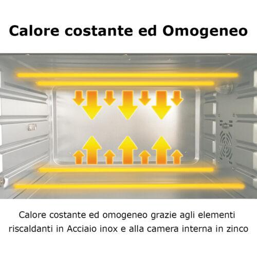Forno Fornetto Elettrico Ventilato 48 litri 2000W Luce Interna Timer Girarrosto