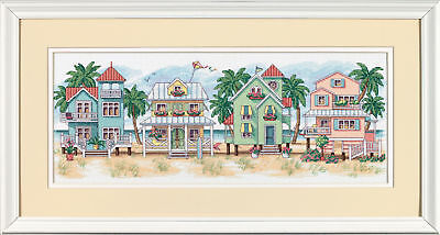1x Counted Cross Stitch Seaside Cottages Sewing Craft Tool Hobby Art Uk Voldoende Aanbod