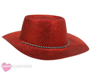 5db138d8591 RED GLITTER COWBOY HAT WILD WESTERN COWGIRL HEN STAG PARTY HOLIDAY ...