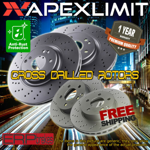 F+R Drilled Rotors for 2012-2015 Chrysler Town /& Country w// Heavy Duty Brakes
