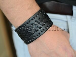 Punk-Braided-Genuine-Leather-Bracelet-Men-Women-Gothic-Viking-Cuff-Norse