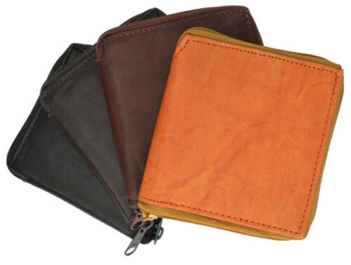 Brown  Genuine Leather Mens Bifold Wallet Zip Around Coin Credit Card Holder