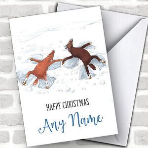 Funny-Horse-Snow-Angels-Cute-Personalized-Christmas-Card