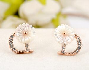 Ladies-White-Mother-of-Pearl-10MM-Cute-Flower-925-Silver-Stud-Earrings-Stunning