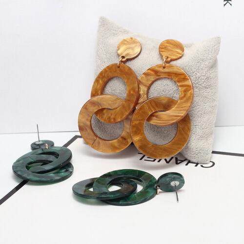 Les femmes Acrylique Géométrique Rond Pendentif Dangle Drop Boucles D/'oreille Bijoux Cadeau