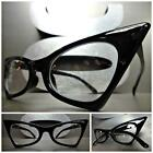 New CLASSIC VINTAGE 50's RETRO CAT EYE Style Clear Lens EYE GLASSES Black Frame