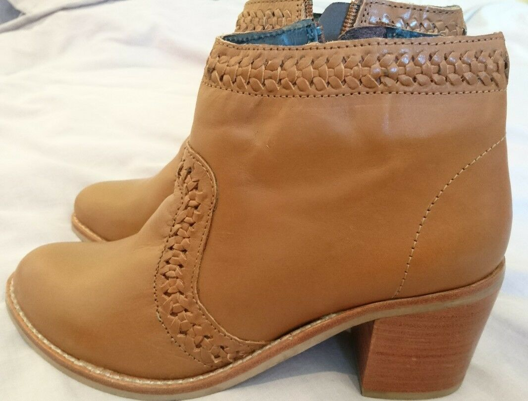 Monsoon Lewis Weave Heeled Leather Tan Brand Ankle Boots Uk 5 Brand Tan New 786f58