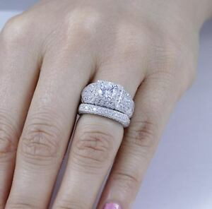image is loading 2pc sterling silver cz halo wedding band engagement - Halo Wedding Ring Sets