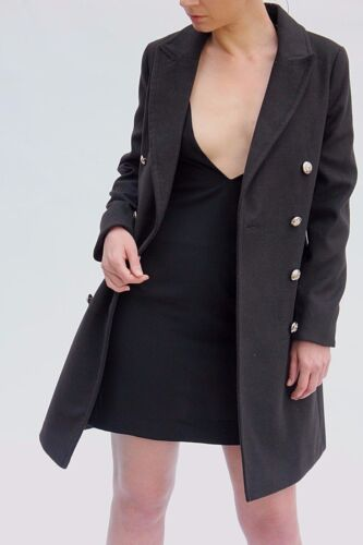 Coat Lapel Jacket Militær Black City Topshop til 4 18 Trench Dress Allsidig wTtY1q7