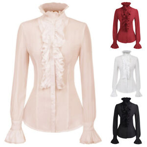 Lady-High-Neck-Ruffle-Victorian-Long-Sleeves-Medieval-Shirt-Blouse-Vintage-Tops