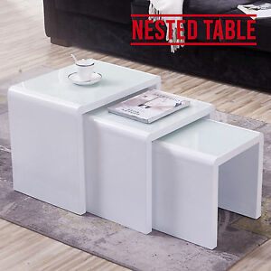 High Gloss White White Glass Nest Of 3 Coffee Table Living Room