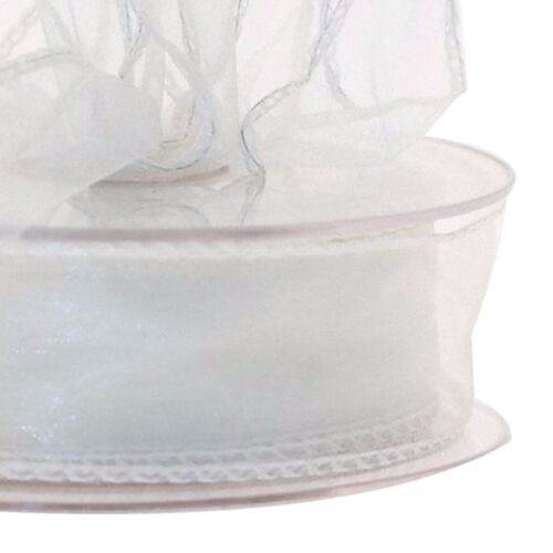 Organza ribbon Bridal White  sheer 20m wire edged reel 3cm wide Floristry Craft
