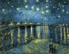 Wieco Art - Starry Night Over the Rhone by Vincent Van Gogh Oil Paintings