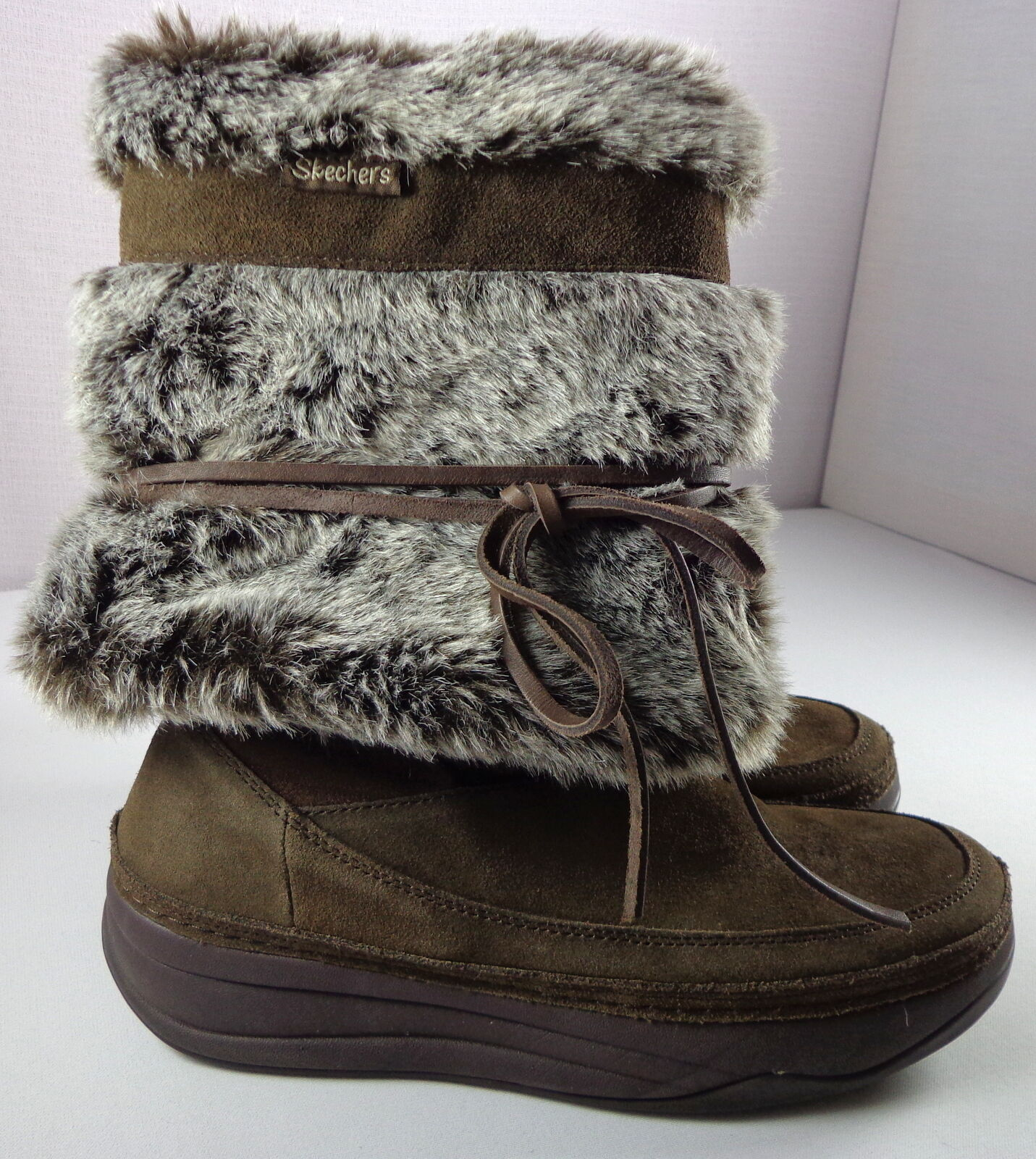 Skechers Tone-Ups Tone-Ups Tone-Ups Boots Womens Brown Mid-Calf Faux Fur Pull On shoes Size 7 1ec154