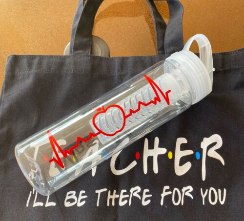 Teacher Water Bottle APPLE HEARTBEAT Disney Font Teacher Tumbler Personalized