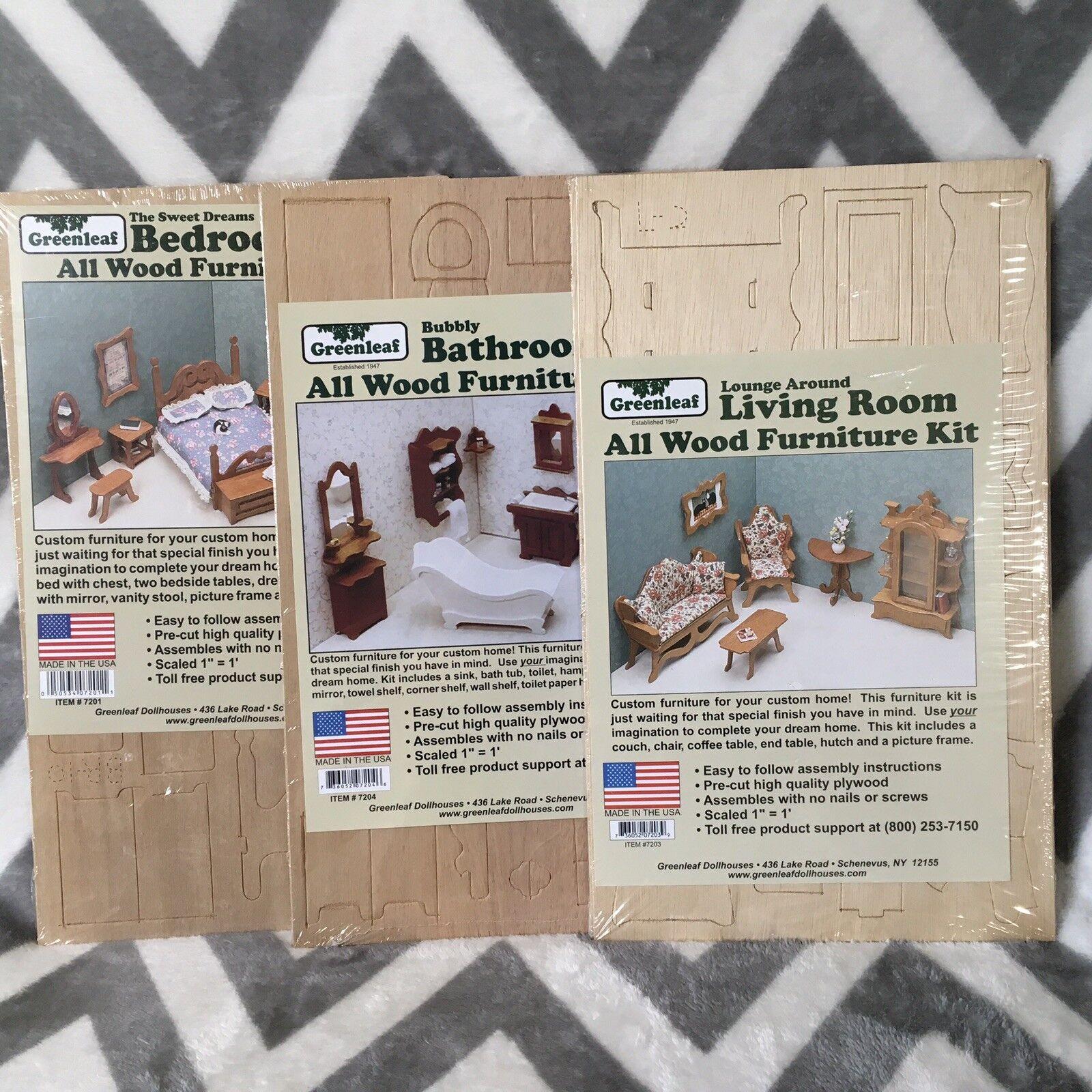 Lote de 3 Nuevo Kit verdeleaf casa De Muñecas Muebles De Madera Dormitorio Baño Salón