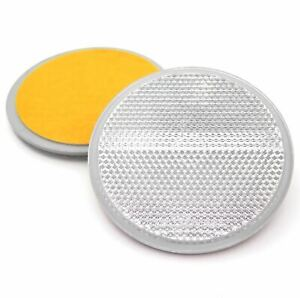 Suitable for Vehicles 227s Round Circular Trailer Caravan Reflectors with Centre Hole for Mounting with Screws Cycle Carriers White 84mm E-Approved Depth 6 mm 2 Pack Gateposts