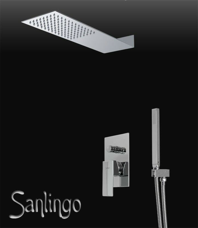Sanlingo Completo 2 Vie Incasso Cromo Doccia Set Angolare Massive Brass