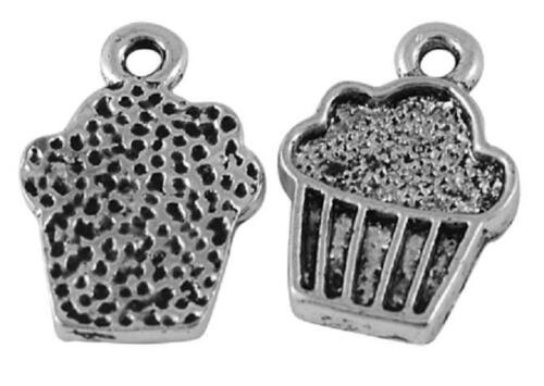 25 Antique Silver Cup Cake Charms NF LF Cupcakes 16mm x 11mm