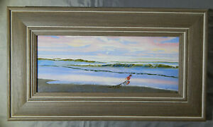 BEACH-original-oil-on-wood-panel-painting-artist-signed-framed-ocean-seascape