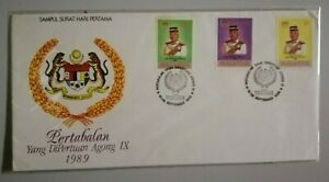 FDC-Malaysia-1989-Agong-IX-3v-Stamps-Cover
