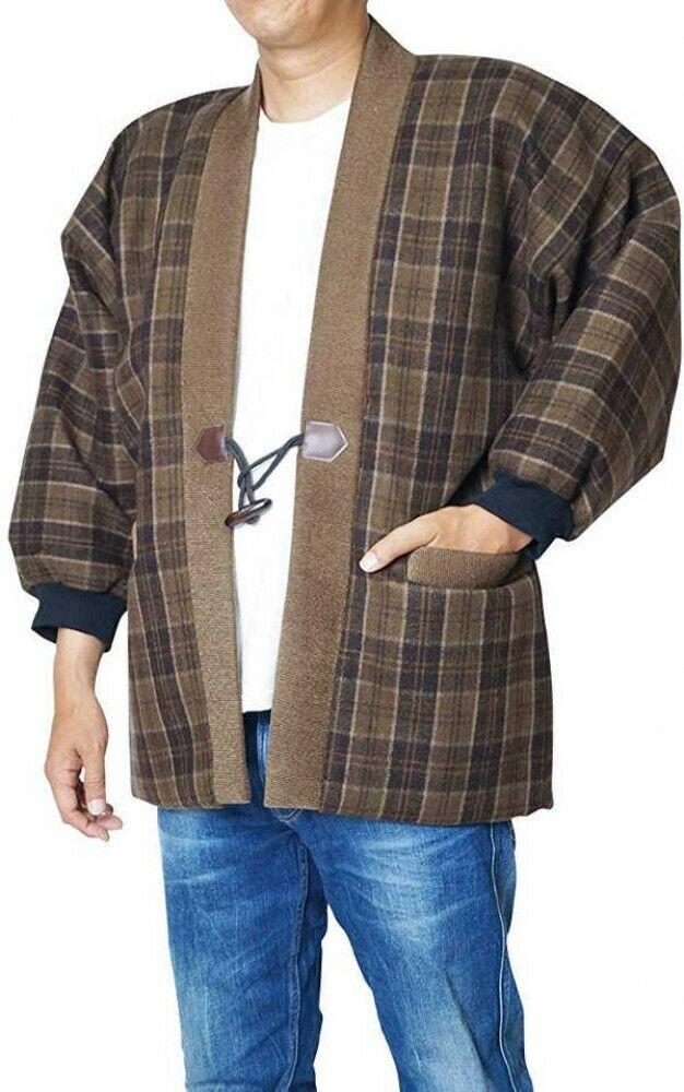 Japanese Kimono Hanten Lined Boa Warm Wear Winter Coat 2 Stripes Brown Japan EMS