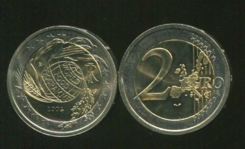 ITALY 2 EUROS 2004 WORLD FOOD PROGRAM BI-METAL UNC COIN
