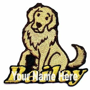 Golden Retriever Dog Custom Iron-on Patch With Name Personalized Free