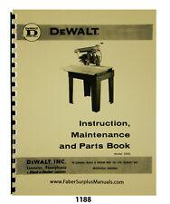Dewalt Model 1500 Radial Arm Saw Instruction Maintenance Amp Parts Manual 1188