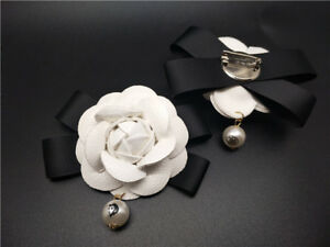 """3/"""" White Camellia Brooch Pin Silk Satin Fabric Flower Lapel Pin Made in USA"""