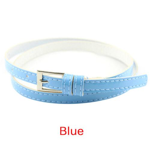 Women Laies Fashion Narrow Skinny Thin Patent Leather Buckle Waist Belt Nice