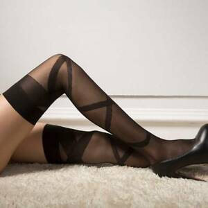 Stay-Up Women Tights Thigh-highs Pantyhose Stripes Stockings