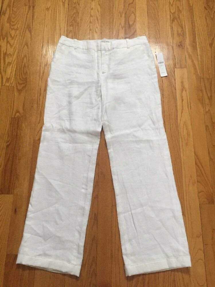 NWT Coldwater Creek Natural Fit 100% Linen Lined White Pants 10
