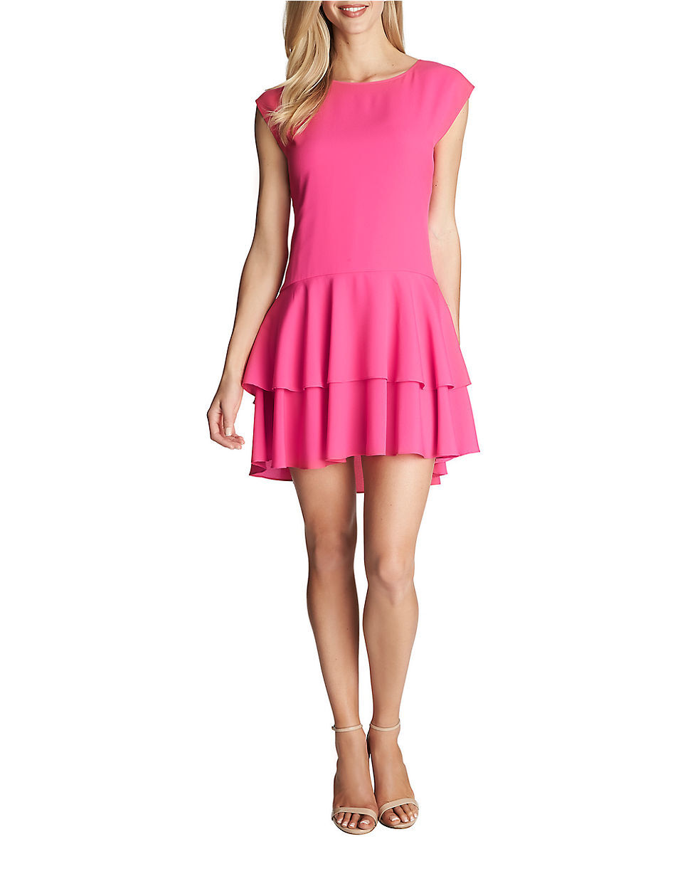 Cece Cynthia Steffe Rosa Lily Tierot Drop Waist cap sleeve relaxed fit Dress 2