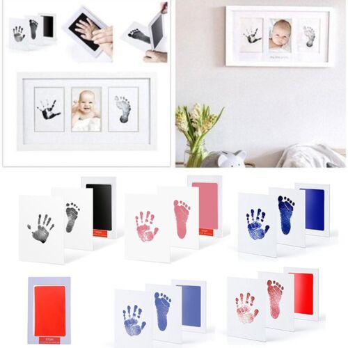 Baby Newborn Handprint Footprint Imprint Clean Touch Ink Pad Photo Frame Kit Set