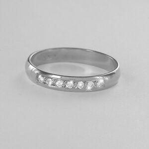 Hallmarked-9ct-White-Gold-Diamond-Set-3mm-Wedding-Rings-Finger-Size-H-To-P