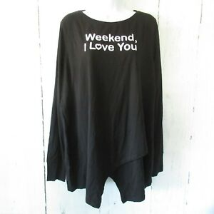 New-AnyBody-Top-1X-Black-Weekend-Graphic-Lounge-Crossover-Cozy-Knit-Plus-Size