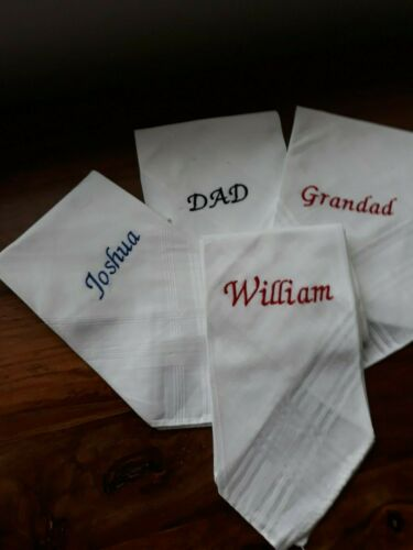 """3 X MENS PERSONALISED HANDKERCHIEFS 100/% COTTON /"""" ANY NAME UP TO NINE LETTERS/"""""""