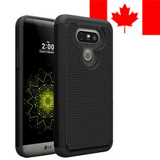HARD + SOFT RUBBER SHOCKPROOF CASE COVER SHIELD FOR LG G5 (BLACK)